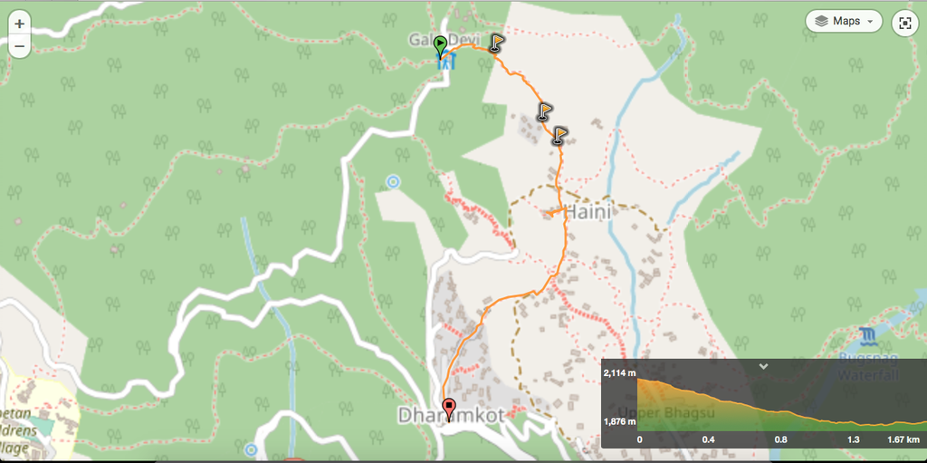 A route that cuts through the heart of Dharamkot. A good way to get supplies or for a town visit.